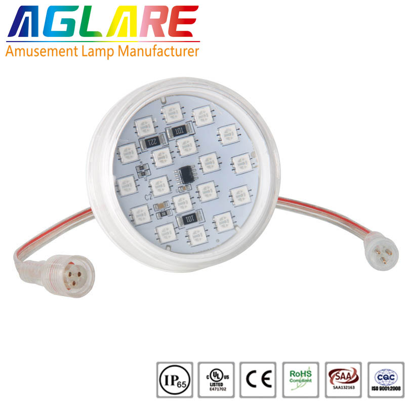 60mm led rgb 18pcs flat and round cover led pixel light amusement rides