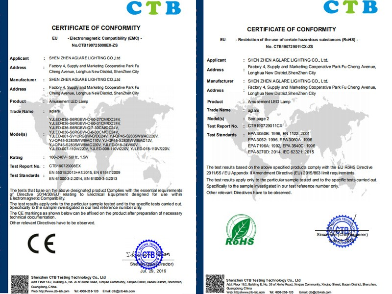 Our led amusement lamp made a successful in CE & ROHS certification!