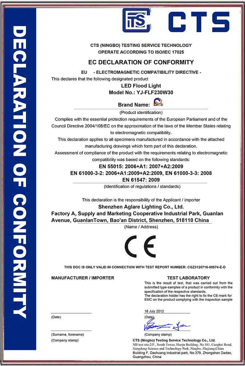 LED Light Certificate