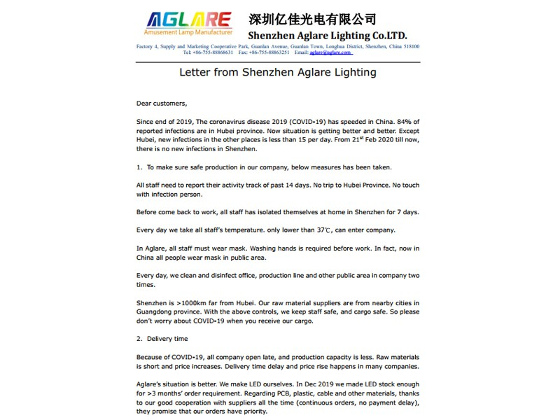 Letter from Shenzhen Aglare Lighting